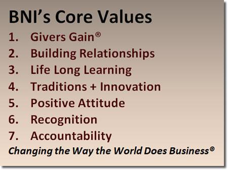 BNI Colorado Core Values